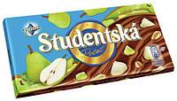 Шоколад Studentska Pecet Mlecna s chuti hrusek (Студентка с арахисом и кусочками груши) 180 г. Чехия