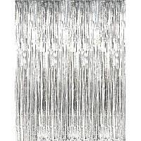 Шторка - занавес из мишуры для фотозон, серебро 100х300 см.