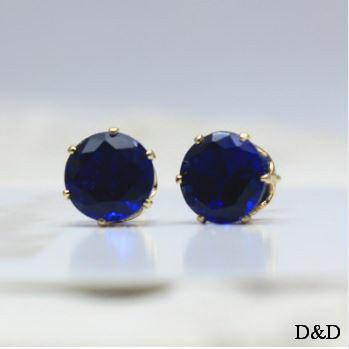 Серьги - гвоздики синие золото