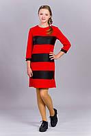 Платье с кожаными вставками красного цвета