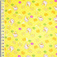 Байка фланель байковая ткань для пеленок детская фланелевая желтая с мордочками и яблоками ш.110