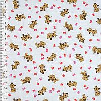 Байка фланель байковая ткань для пеленок детская фланелевая белая с собачк.и краснаялапками ш.105