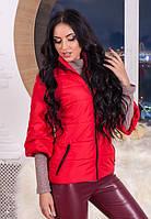 Куртка женская красная с рукавом три четверти