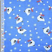 Байка фланель байковая ткань для пеленок детская фланелевая синяя гусята ш.110