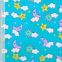 Байка фланель байковая ткань для пеленок детская фланелевая голубая небо ш.110
