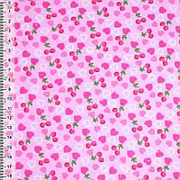 Байка фланель байковая ткань для пеленок детская фланелевая розовая с сердечками и ягодками ш.105
