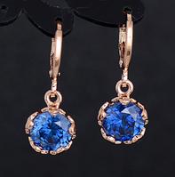 Сережки серьги Цветок 18K позолота синие