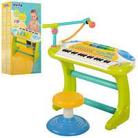 Синтезатор 2079  37 клавиш, на ножках, музыка, свет, стульчик, микрофон, запись, Demo, на батарейке, в коробке