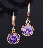 Сережки серьги Цветок 18K позолота фиолетовые