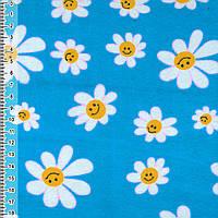 Байка фланель байковая ткань для пеленок детская фланелевая синяя с белыми ромашками ш.110