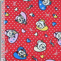 Байка фланель байковая ткань для пеленок детская фланелевая красная сердечки с козлятами ш.110