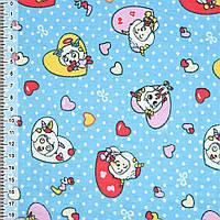 Байка фланель байковая ткань для пеленок детская фланелевая голубая сердечки с козлятами ш.110