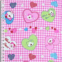 Байка фланель байковая ткань для пеленок детская фланелевая розовая сердечки с мишками ш.110
