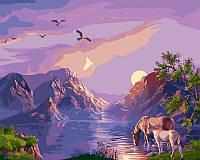 Картины по номерам 40 × 50 см. Закат в горах худ. Цыганов, Виктор , фото 1