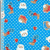 Байка фланель байковая ткань для пеленок детская фланелевая синяя с мишками LOVE ш.110