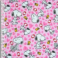 Байка фланель байковая ткань для пеленок детская фланелевая розовая собачка с сердечками ш.110