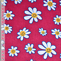 Байка фланель байковая ткань для пеленок детская фланелевая бордовая с белыми ромашками ш.110