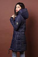 Зимняя женская молодежная куртка. Код К-80-36-19. Цвет темно синий.