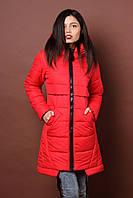 Зимняя женская молодежная куртка. Код К-80-36-17. Цвет красный.