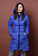 Зимняя женская молодежная куртка. Код К-80-36-17. Цвет яркий синий.