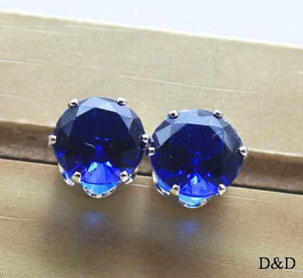 Серьги - гвоздики синие серебро