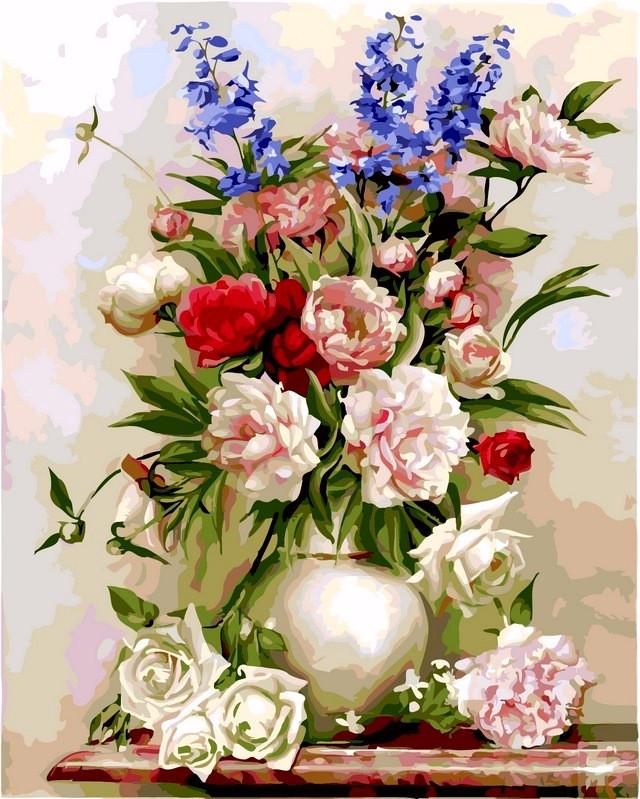 Картины по номерам 40×50 см. Букет в белой вазе Художник Игорь Бузин