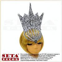 Корона Снежная ледяная королева на обруче новогодняя серебристая