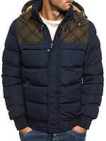 Мужская зимняя куртка с вставками в клетку, фото 1