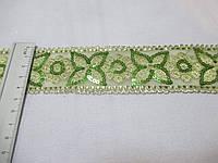 Тасьма стрічка з паєтками  5 см зелена
