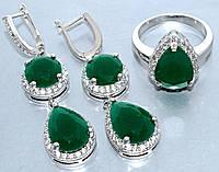 """Набор  """"серьги и кольцо"""",покрытие родием. Камень:белый и зелёный циркон. Высота серьги: 5 см Ширина: 13 мм"""