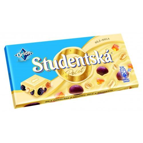 Шоколад Studentska Bila (Студентка Белый шоколад с изюмом и арахисом) 180 г. Чехия