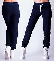 ТЕПЛЫЕ спортивные штаны женские на флисе зимние с начесом темно синие Украина 230-03/1