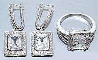 """Набор  """"серьги и кольцо"""",покрытие родием. Камень: белый циркон. Высота серьги: 3 см Ширина: 11 мм 17"""