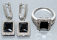 """Набор  """"серьги и кольцо"""",покрытие родием. Камень: белый и чёрный циркон. Высота серьги: 3 см Ширина: 11 мм"""