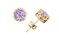 Сережки серьги Корона18K позолота фиолетовые