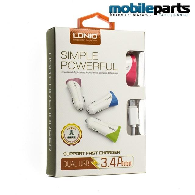 Автомобильное зарядное устройство LDNIO DL-C332  Micro-USB (Белый)