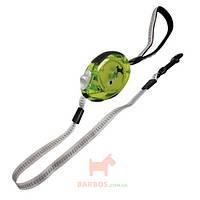 Поводок рулетка для собак до 12 кг, с мягкой петлей на руку, кнопкой блокировки и прозрачным корпусом, светоотражающая лента 2 м DogxToGo Belt
