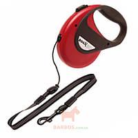 Поводок рулетка для собак до 20 кг, с ручкой и кнопкой блокировки, светоотражающий шнур 8 м DogxToGo Cord (Карли-Фламинго) Karlie Flamingo (красный)