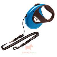 Поводок рулетка для собак до 20 кг, с ручкой и кнопкой блокировки, светоотражающий шнур 8 м DogxToGo Cord (Карли-Фламинго) Karlie Flamingo (синий)