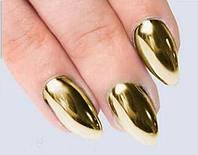 Зеркальная пудра для ногтей, золотая