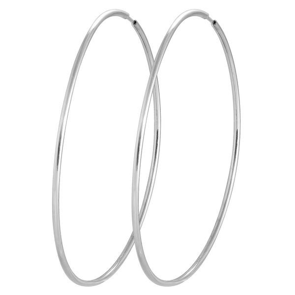 Большие серебряные родированные серьги кольца 70мм купить -