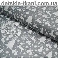 """Ткань хлопковая серого цвета """"Снеговики, ёлки, олени"""" (№485)."""