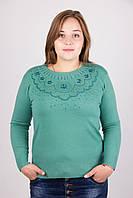 Очень красивая женская кофта большего размера из мягкого кашемира бирюзового цвета