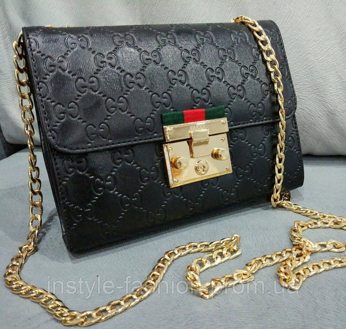 207010a8f151 Сумка клатч через плечо Gucci Гуччи на цепочке черная: купить ...