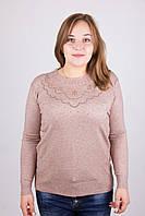 Очень красивая женская кофта большего размера из мягкого кашемира цвет мокко