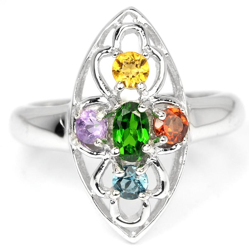 Серебряное кольцо с натуральными Мультикамнями