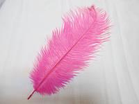 Перо страуса 25-30 см яскраво рожеве