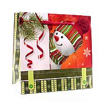 Подарочный пакет новогодний 11-12-1108 (16 х 16 х 7,6 см)