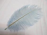 Перо страуса декоративное 25-30см, Пір'я страусине голубе