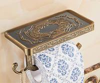 Европейский элитный настенный держатель рулона туалетной бумаги с полочкой и крючком бронза 0267